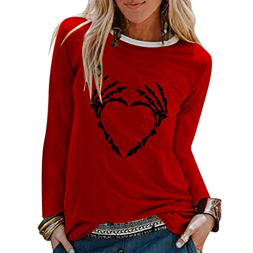 Teenager Mädchen Kostüm Werwolf - GOKOMO Halloween Dekoration Damen Tops Frauen Bluse handknöchel Schutz Pullover Halloween Langärmliges Hemd(rot,XXX-Large)
