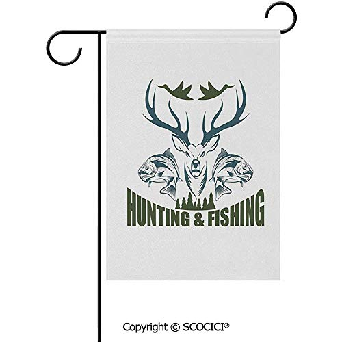 Double Sided Washable Customized Unique 12x18(in) Garden Flag Artistic Emblem Moose Horns Trout Salmon Sea Fishes Decorative,Olive Green Slate Blue White -