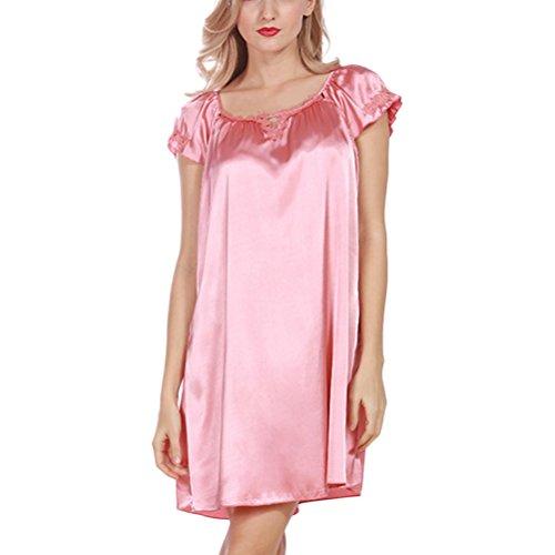 Zhhlaixing Satin Silk Nightgown Women's Chemise Nightshirts Chemises Slip Sleepwear SQ333# Rose Red