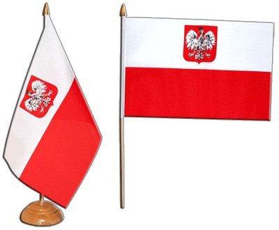 Flaggenfritze® Tischflagge Polen mit Adler - 15 x 22 cm (Polnische Holz-möbel)