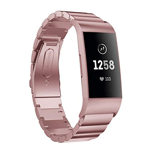 Aimtel kompatibel Fitbit Charge 3/Charge 3 SE Armband,Solid Edelstahl Metall Ersatzarmband Uhrenarmbänder kompatibel Fitbit Charge 3 Fitness-Tracker(Rosa-1)