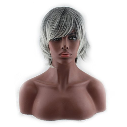 QHGstore Kurze graue weiße Perücken Unisex Synthetische Hitzebeständige Haar Perücke Cosplay Bob Perücken (Perücken Echte Graue)