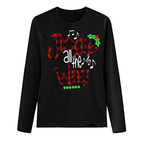 yazidan Damen Weihnachten Langarmshirt Weihnachtsbaum Briefdruck Pullover Langarm Rundhals Christmas T-Shirt Tops Bluse Jumper Weihnachtspullover Oberteile