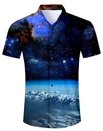 Spreadhoodie Männer Sommer Hemden Freizeithemd Badehose 3D Druck Hawaii Hemd und Shorts für Herren Jungen M