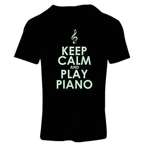 Frauen T-Shirt Klavier - Musiker zitiert (Small Schwarz Fluoreszierend) (Australien Fitted T-shirt)