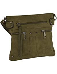 Olive Edgy Faux Leather Zippered Messenger Crossbody Side Bag Purse, Long Strap By Rising Phoenix Industries