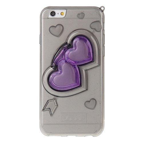 Phone case & Hülle Für IPhone 6 / 6S, 3D Love Heart Pattern TPU Schutzhülle mit Halter & Lanyard ( Color : Black ) Black