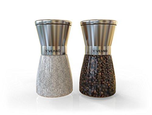 Veano Salz- und Pfeffermühlen 2er Set Elegance Edelstahl   Salzmühle & Gewürzmühle mit Präzisionsmahlwerk aus Keramik   Gratis eBook