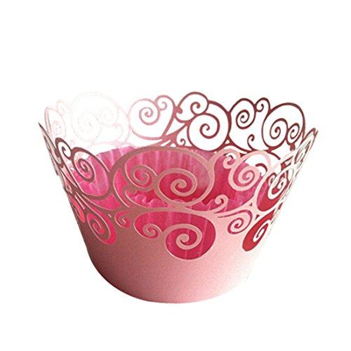 Hochzeitspapier Wolkenranken Spitze Cupcake Wrapper Perlen-Backturm Party Dekoration Pink ()