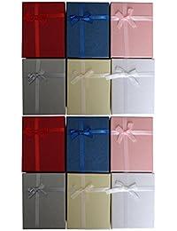 12 teiliges Set Schmuck Ring Halsketten Geschenkboxen Geschenkschachtel Display mit Samteinlage von Kurtzy - 8,5 x 6,5cm Präsentation Boxen - Schleife und Band Design - Steckeinlage für Ringe, Ohrstecker und Halsketten