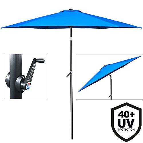 Deuba Sonnenschirm • Ø 200cm • UV-Schutz 40+ • mit Kurbel und Neigefunktion •...