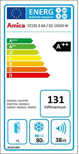 Amica GS 15424 W Gefrierschrankschrank / A++ / 84,50 cm Höhe / 131 kWh/Jahr / 80 Liter Kühlteil / Temperaturreglung