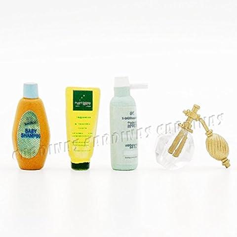 Odoria 1:12 Miniature Body Care Set 4 in 1 Pack Shampoo Body Wash Cleanser Perfume Dollhouse Bathroom