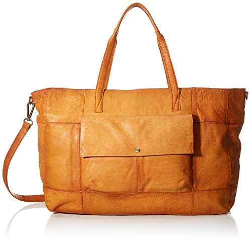 PIECES Damen Pcasta Leather Weekend Bag Schultertasche, Braun (Cognac), 14,5x32x38 cm