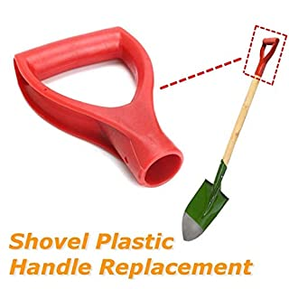 BSGP 1Pc Plastic Scoop Poly D Grip Handle For Spade Fork Shovel Replacement Lawn Farm Snow Removal Spade Fork Shovel, Red