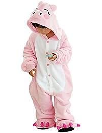 Free Fisher Kinder Disfraz de animales, pijama, trajes, enterizos Rosa Schwein 140-146 cm