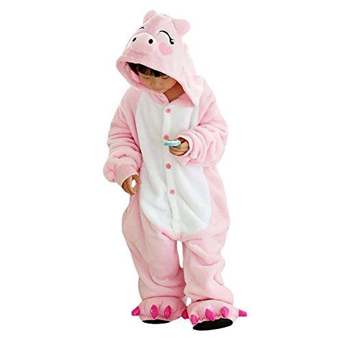 LPATTERN-Kinder Mädchen/Jungen Cosplay Pyjamas  Tier Kostüm Jumpsuit Einteiler, Rosa Schwein, 140/146( Herstellergröße: XXL/140)