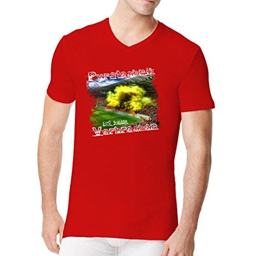 Sport Männer V-Neck Shirt - Pyrotechnik ist kein Verbrechen by Im-Shirt Rot