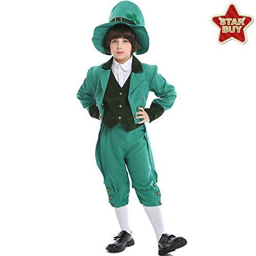 COSOER Irish Leprechaun Boy Cosplay Kostüm Performance Party Kleidung Für Halloween St. Patrick's Day,Boygreen-S (St Patrick's Day Kostüm Für Kleinkind)
