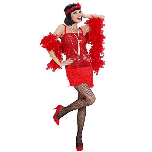 Mit Federn Kostüm Showgirl - Widmann 70321 - Erwachsenenkostüm Charleston - Kleid und Stirnband mit Federn, Größe S, rot