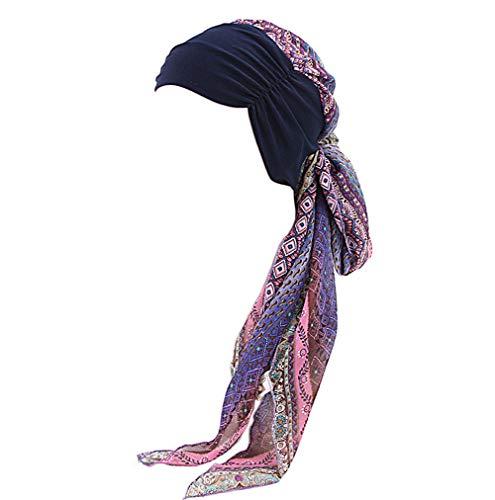 Amorar Chemotherapie Deckel, Mode Chiffon Chemo Schal Hut Turban Kopf Schals Pre-Tied Haarausfall Hut Elastische Headwear Kopftuch Hut für Krebs