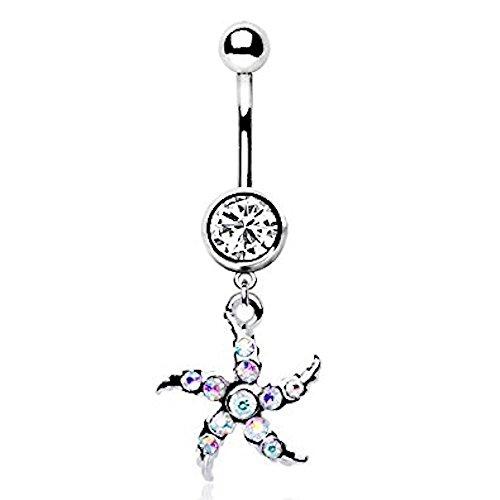 tal Star Fisch baumeln Bauchnabelpiercing 316L Edelstahl Bauch Button Ring (Bauch Ringe, Fische)