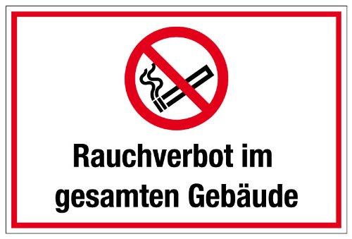 """Hinweisschild """"Rauchverbot im gesamten Gebäude"""" aus Aluminium - in verschiedenen Größen erhältlich"""