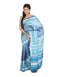 Aishee's Grey, Blue And Cream Colored Party Wear Silk Saree