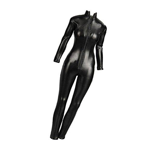 1/6 Traje Ropa Femenina Mono Chaqueta Cuero de Imitación Color Negro