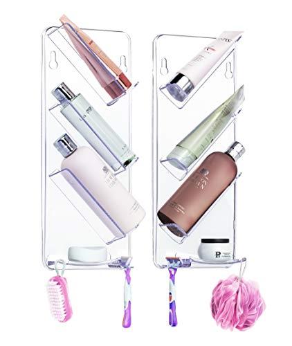 Duschablage ShowerGem, Ohne Saugnäpfe oder Schrauben, Rostfrei, Leicht zu reinigen, bietet Platz zum ordentlichen Verstauen aller Utensilien, Dusch-Organiser im Doppelpack