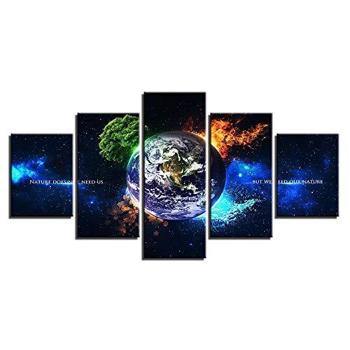 SXXMY Bilder Leinwandbilder Wandbild Wandgemälde HD Moderne Ölgemälde fünf verknüpft Erde 4 Jahreszeiten Naturkulisse Leinwand Gemälde ohne Rahmen -