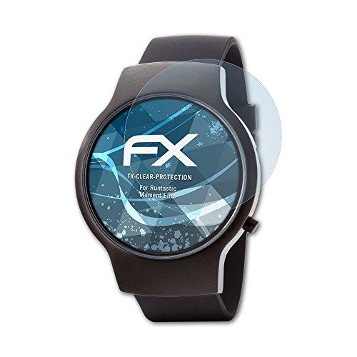 atFoliX Schutzfolie kompatibel mit Runtastic Moment Elite Folie, ultraklare FX Bildschirmschutzfolie (3X)