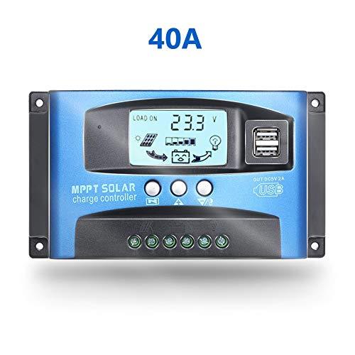 Fuhuihe 12V/24V MTTP Solarladegerät Solarpanel Akku-Ladegerät Intelligenter Regler mit Dual-USB-Port LCD Display Überstromschutz für Zuhause, Industrie, Gewerbe Ladung 24v-system