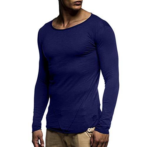 Maniche lunghe uomo,yesmile uomo buco slim fit manica lunga t-shirt maglietta casual top camicetta, moda men shirts slim fit causal long sleves fashion (♥marina, medium)