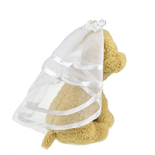 FLAdorepet Schleier für Hunde, kleine Hunde und Katzen, Hochzeitskleid, Brautkostüm, Hundehaarspangen, Haarnadel, Kopfbedeckung, ()