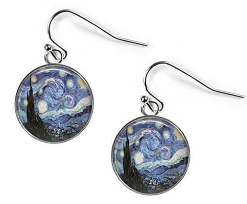 Starry Night Vincent van Gogh–Glas Bild Ohrringe–Silber vergoldet (Art Print J21)