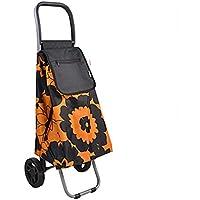 Silencio Carro de la compra de múltiples funciones Carro de la compra Carro de la mano, Carro portátil para equipaje con ruedas de aluminio y soporte / base, Carro plegable Carro de mochila ligero co