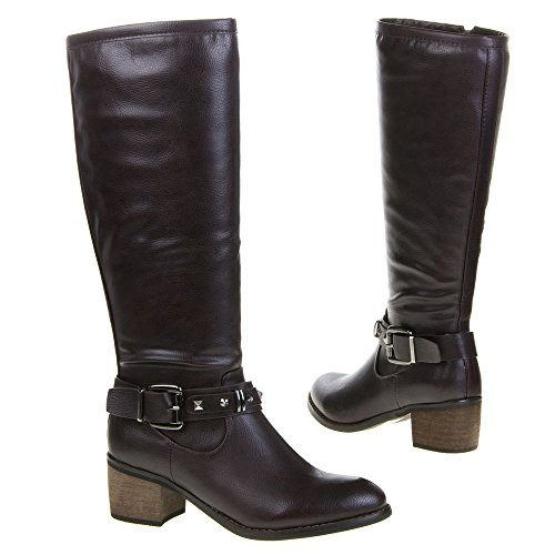 Damen Schuhe, QQ-39, STIEFEL Weinrot