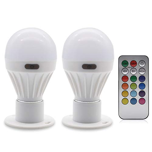Farbige LED Farbwechsel Lampe - GreeSuit RGBW Fernbedienung Leuchtmittel LED-Glühbirne Nachtlichtbirnen Glühlampe dekorative Leuchten für Hauptdekor Weihnachtsdeko Party Hochzeit Home Decor 2Pcs -
