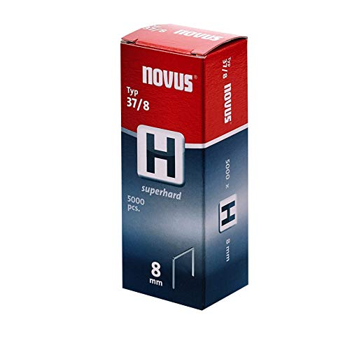 "Novus Feindrahtklammern 6 mm \""superhart\"", für Hammertacker, XL-Packung mit 5000 Tacker-Klammern, Typ 37/6, Stahldraht"