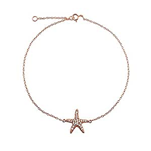 Pave CZ Rose Gold Plated Silver Happy Starfish Anklet 8.5in