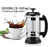 IFor Kaffeepresse, Topffilter, Glas, Kaffeekanne, Haushaltskaffeemaschine, Perkolator-Werkzeug, Edelstahl-Griff, Wasserkocher, 1000 ml
