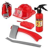 cheap4uk 5pcs Children Firefighter Fireman Cosplay Toys Kit Helmet Fire Extinguisher Intercom Axe Wrench Best Gifts For Kids