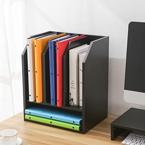 RFIVER Schreibtisch Organizer Dokumentenablage Bücherregal Aufbewahrung aus schwarzem Holz für Hause Büro Schule DO1002