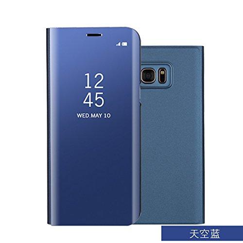 xinyunew Funda Galaxy S6 Edge Plus Carcase,+Protector de Pantalla Clear Standing Flip Case Caso Skin Espejo Estilo Libro Carcasa con óptica de Aluminio Cover Plegable en Reflectante Cielo-Azul