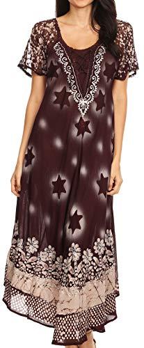 Sakkas 18601 - Marga Damen Maxi Sommer Kaftan Badeanzug Beach Cover Up Kleid mit Spitze - Choco Cream - OS -