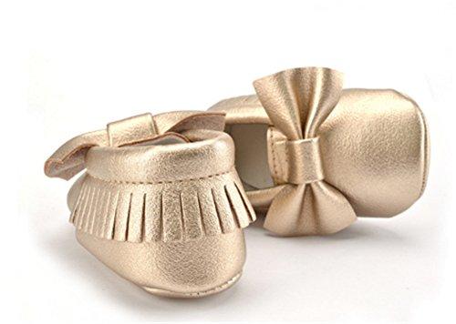 Interesting® Weiche Sohle Mädchen Kind-Schuh-Prinzessin Leder Kleinkind Niedlich Schleife Schuhe Gold