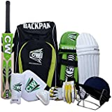CW Full Kit League 20-20 with Kashmir Willow Bat Size 4 Complete Set Age 7-8 Yrs Batting Kit Green