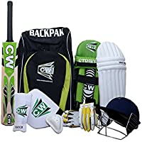 M & M MARS CW Junior League 20 – 20 Cricket Deportes Todo Batting Cricket Kit Verde tamaño 6 con (Cachemira Willow) Cricket Bat Mango Corto Ideal para 11 – 12 Adolescentes Set Completo de Accesorios