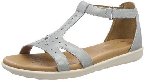 Clarks Damen Un Reisel Mara T-Spangen Sandalen, Blau (Blue Grey), 41.5 EU (Schuhe Clark Frauen Blaue Für)